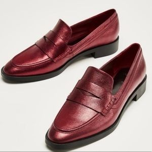 NEW ZARA Woman Metallic Slip On Loafers Red 39